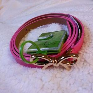 Kate Spade Skinny Pink Leather Belt Large
